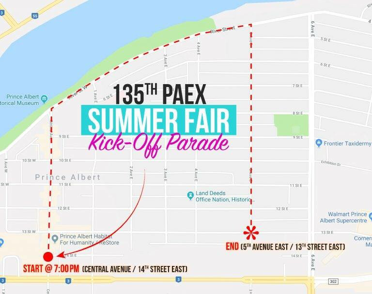 Prince Albert EX parade route 2018